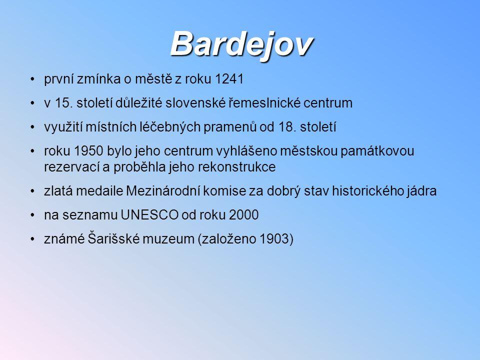 Bardejov první zmínka o městě z roku 1241