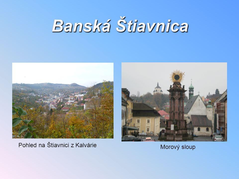 Banská Štiavnica Pohled na Štiavnici z Kalvárie Morový sloup