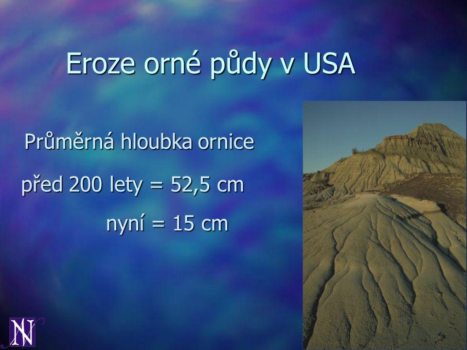 Eroze orné půdy v USA Průměrná hloubka ornice před 200 lety = 52,5 cm