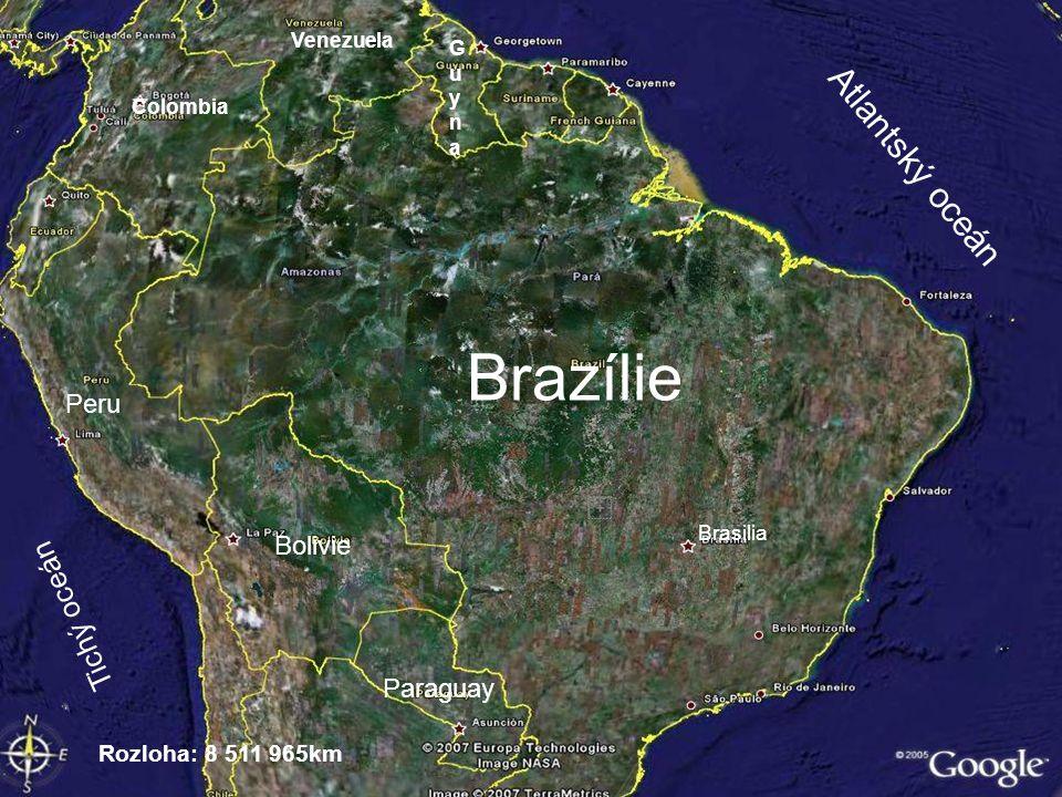 Brazílie Atlantský oceán Tichý oceán Peru Bolivie Paraguay