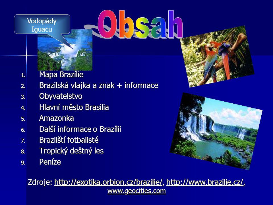 Obsah Mapa Brazílie Brazilská vlajka a znak + informace Obyvatelstvo