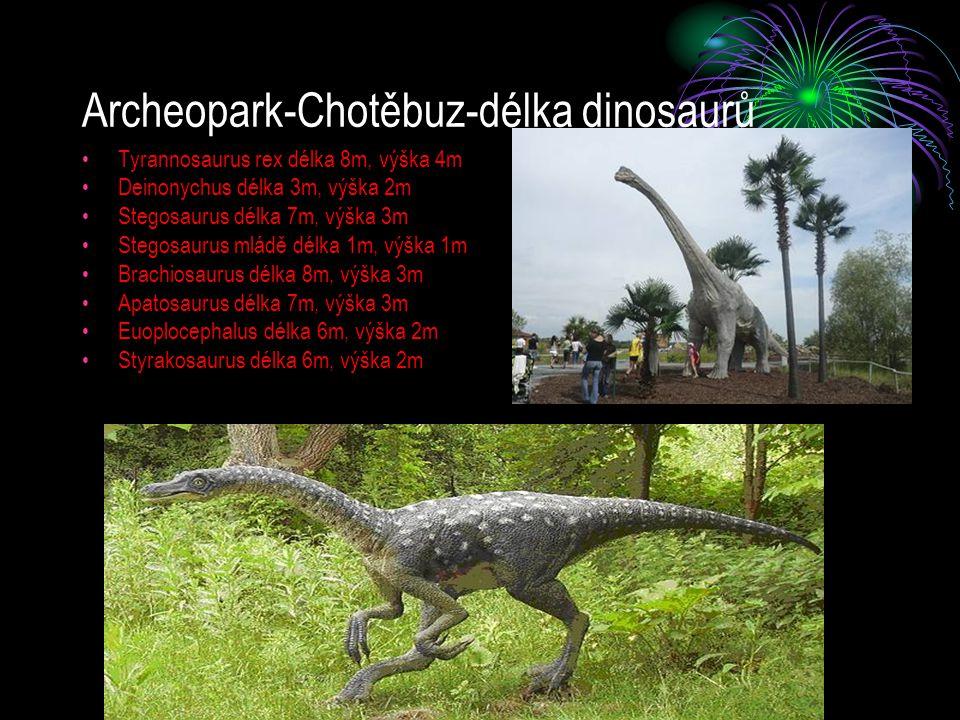 Archeopark-Chotěbuz-délka dinosaurů