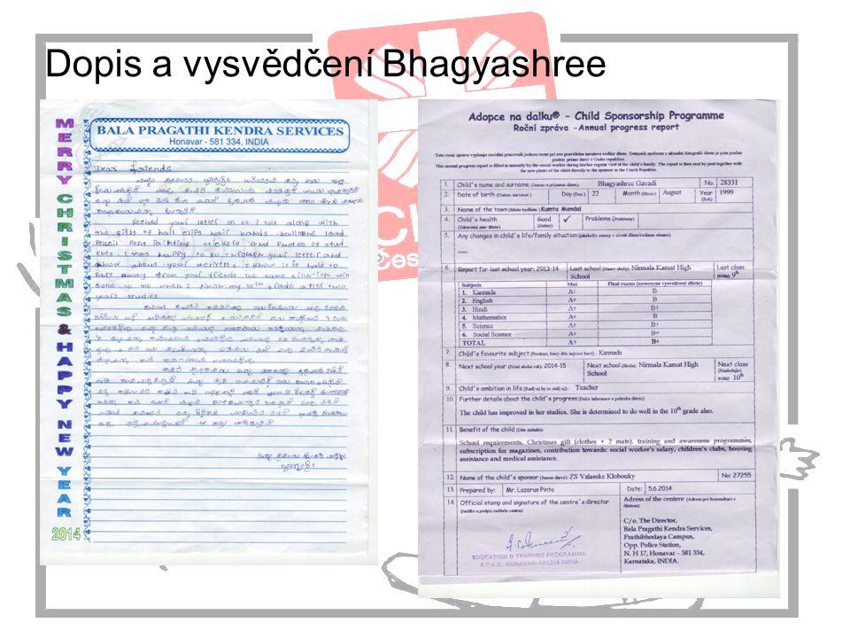 Dopis a vysvědčení Bhagyashree