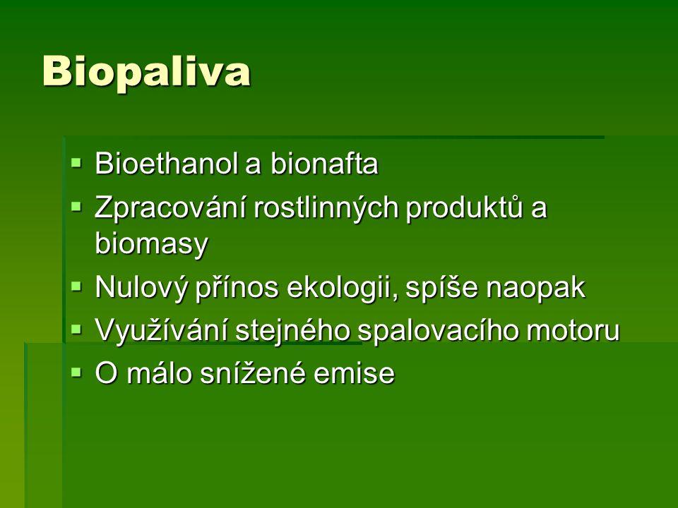 Biopaliva Bioethanol a bionafta