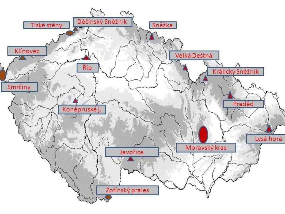 Děčínský Sněžník Tiské stěny. Sněžka. Klínovec. Velká Deštná. Říp. Králický Sněžník. Smrčiny.