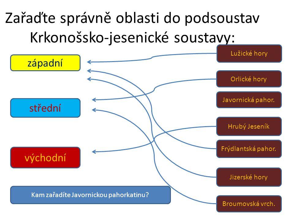 Zařaďte správně oblasti do podsoustav Krkonošsko-jesenické soustavy: