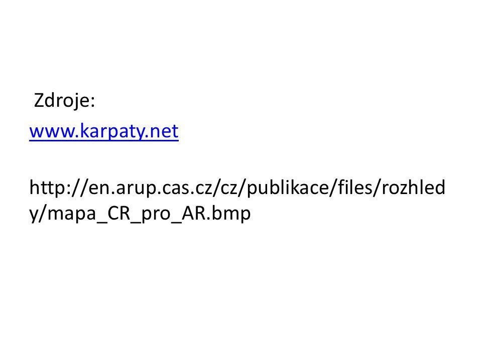 Zdroje: www. karpaty. net http://en. arup. cas