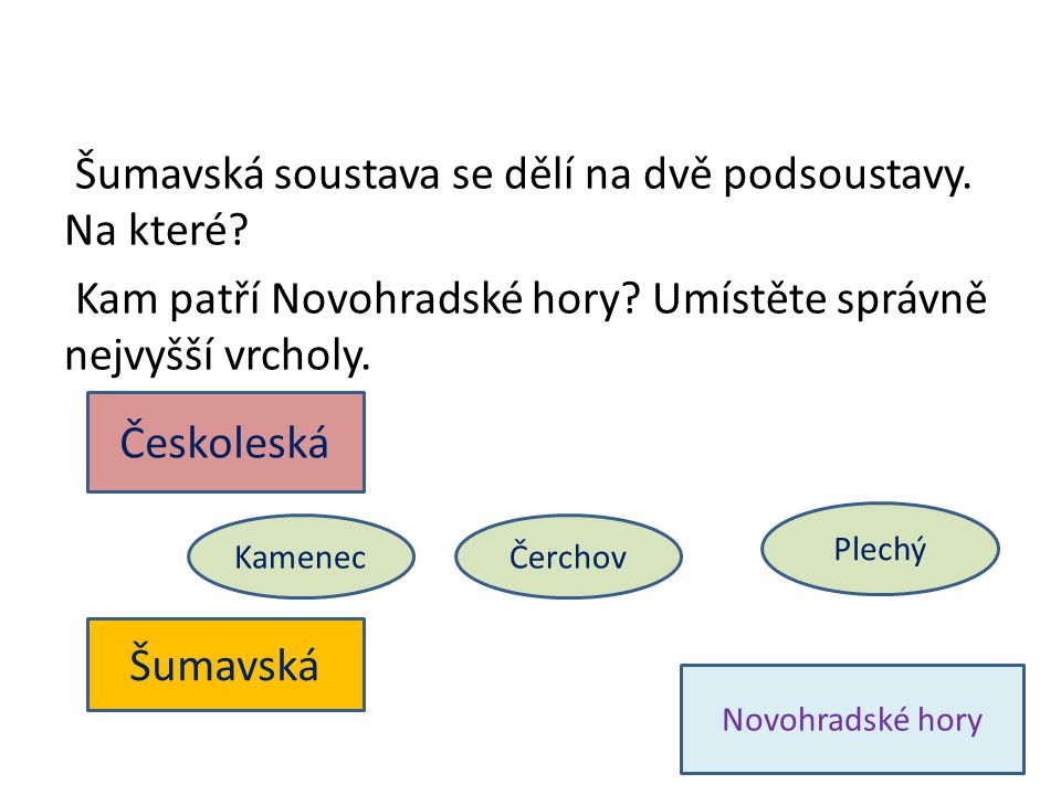 Šumavská soustava se dělí na dvě podsoustavy. Na které