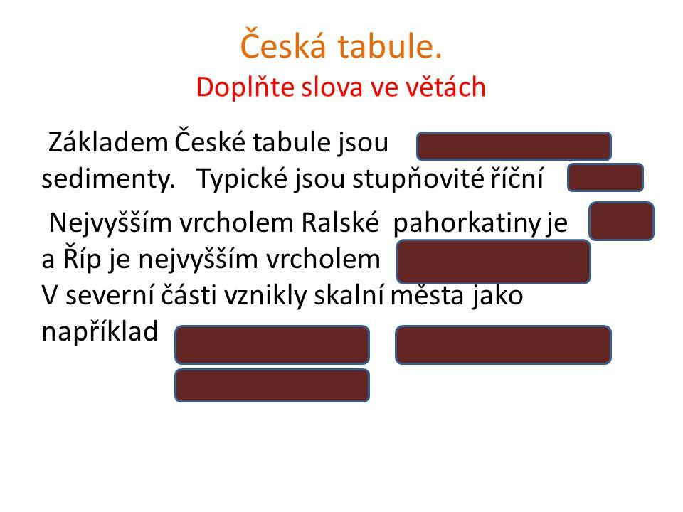 Česká tabule. Doplňte slova ve větách