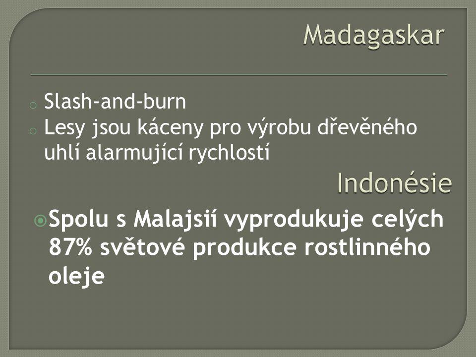 Madagaskar Slash-and-burn. Lesy jsou káceny pro výrobu dřevěného uhlí alarmující rychlostí. Indonésie.