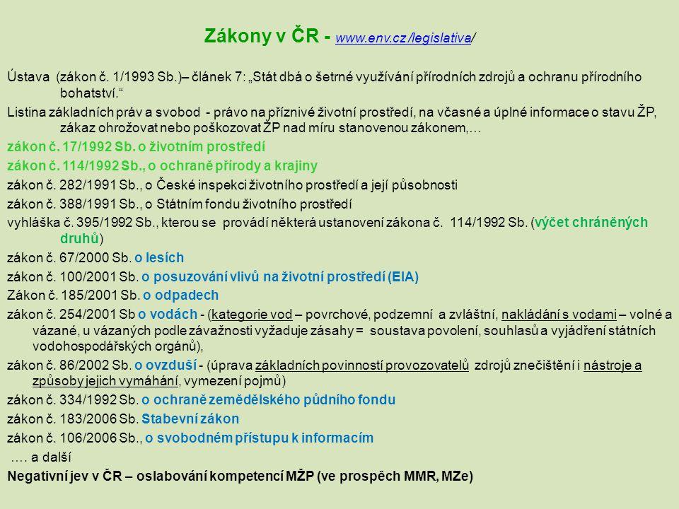 Zákony v ČR - www.env.cz /legislativa/