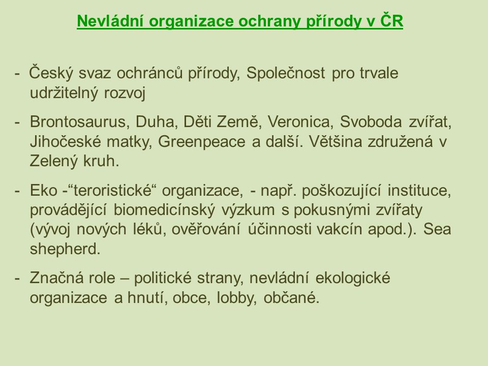Nevládní organizace ochrany přírody v ČR