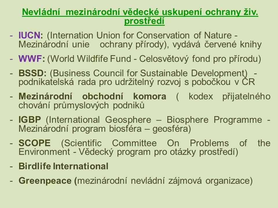Nevládní mezinárodní vědecké uskupení ochrany živ. prostředí