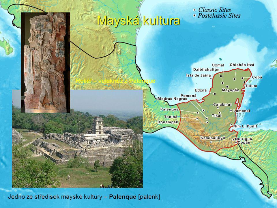 Mayská kultura Reliéf – velekněz z Palenque