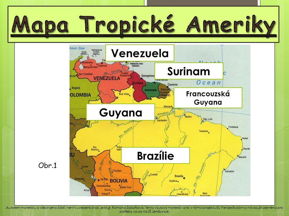 Mapa Tropické Ameriky Venezuela Surinam Guyana Brazílie