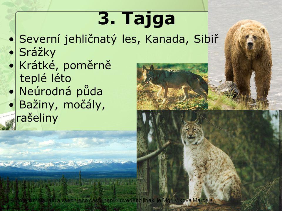 3. Tajga Severní jehličnatý les, Kanada, Sibiř Srážky Krátké, poměrně