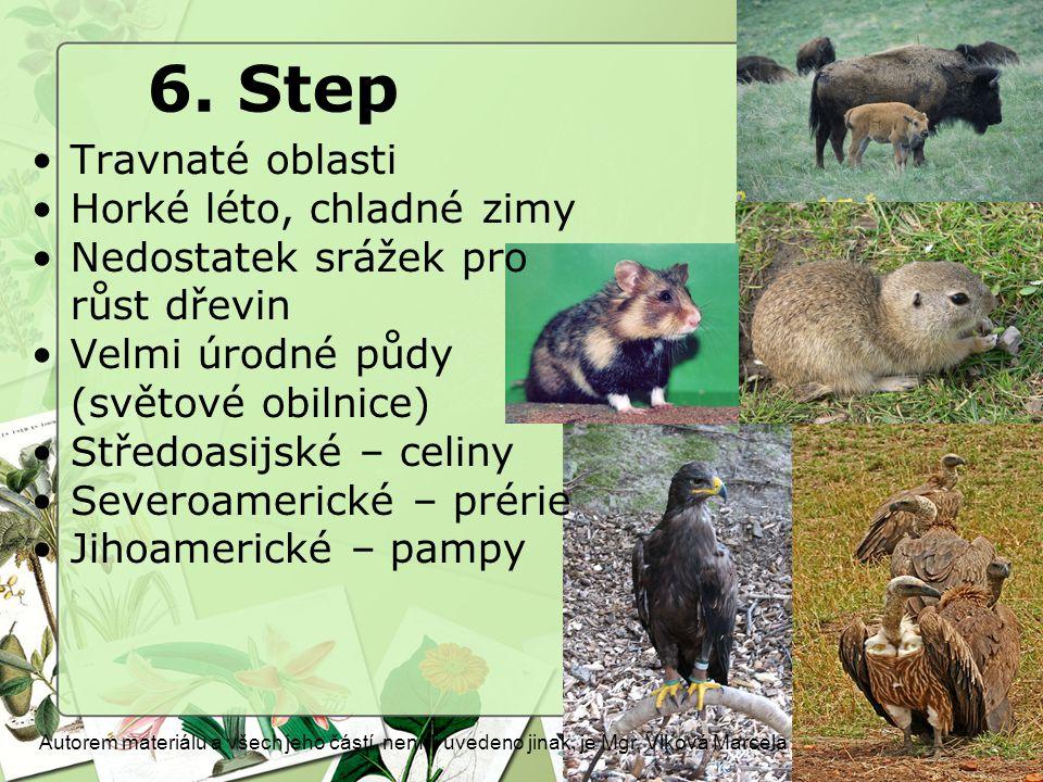 6. Step Travnaté oblasti Horké léto, chladné zimy