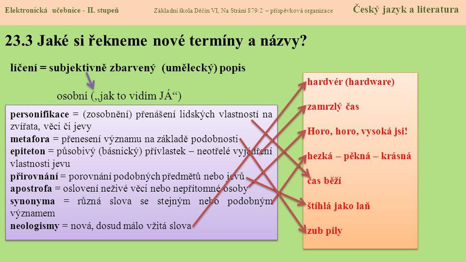 23.3 Jaké si řekneme nové termíny a názvy