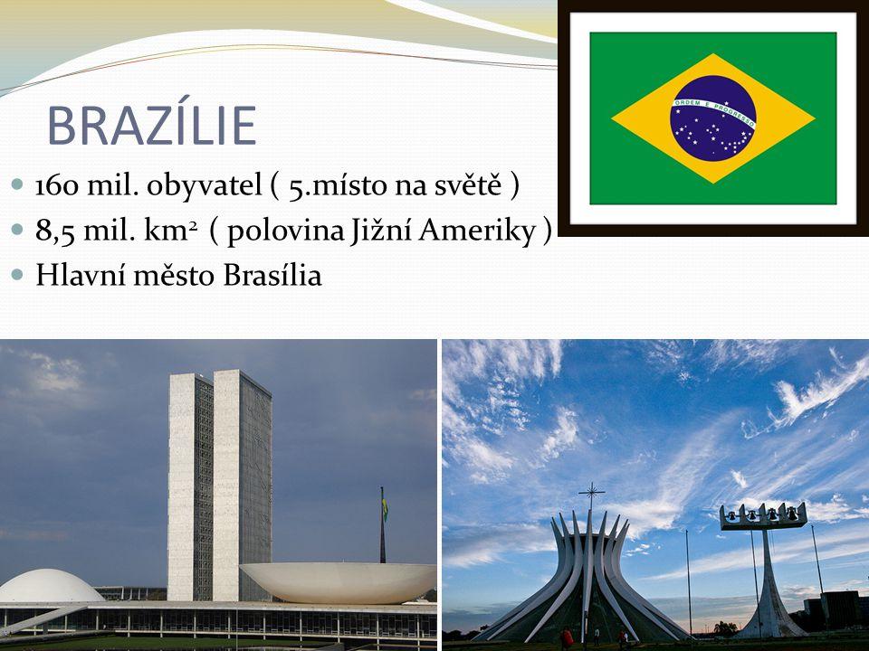 BRAZÍLIE 160 mil. obyvatel ( 5.místo na světě )