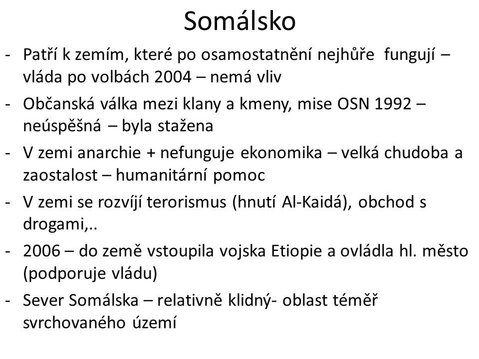 Somálsko Patří k zemím, které po osamostatnění nejhůře fungují – vláda po volbách 2004 – nemá vliv.
