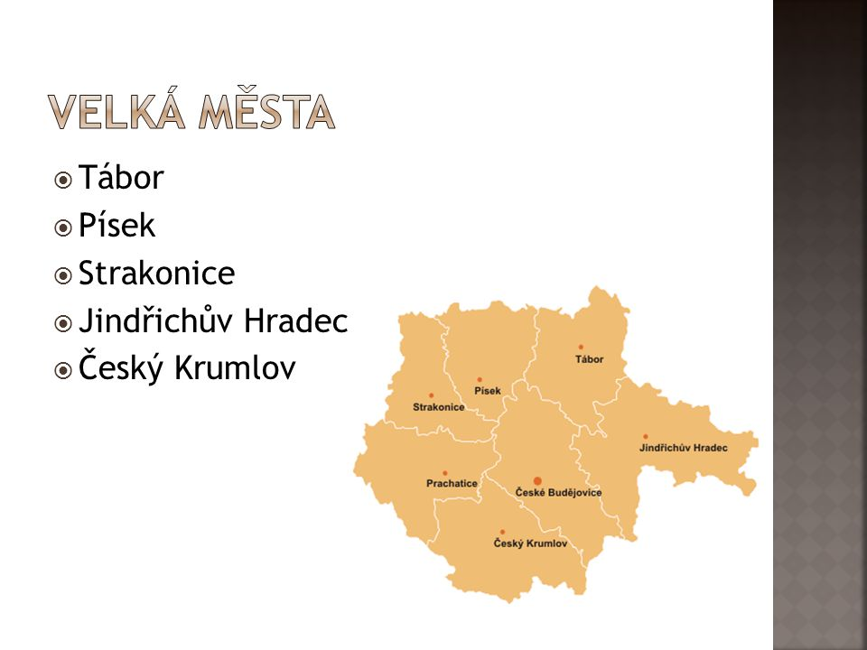 Velká města Tábor Písek Strakonice Jindřichův Hradec Český Krumlov
