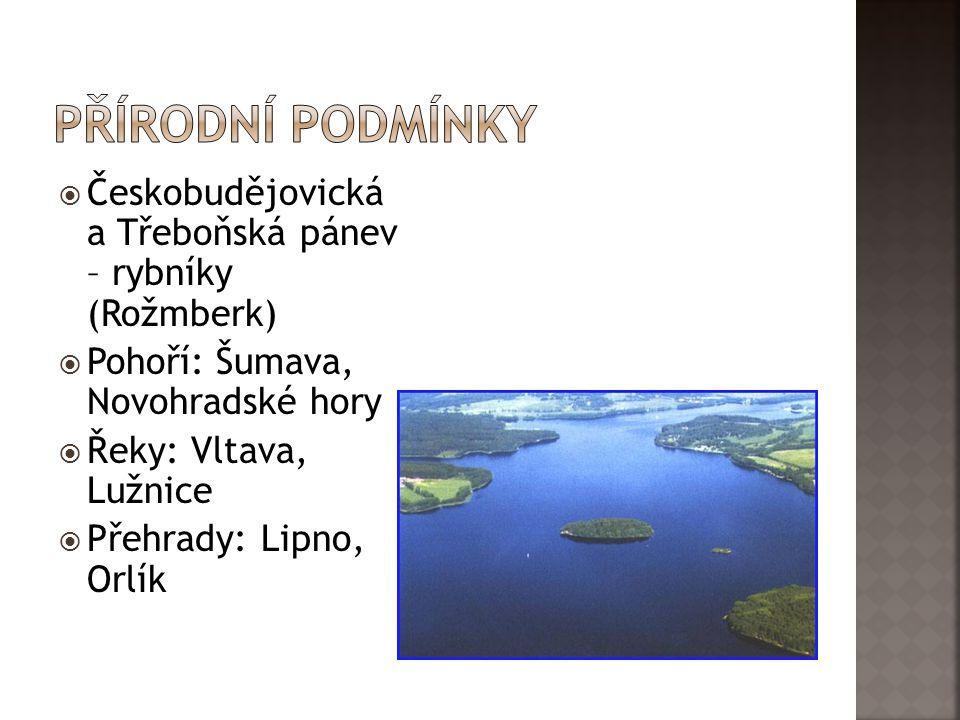 Přírodní podmínky Českobudějovická a Třeboňská pánev – rybníky (Rožmberk) Pohoří: Šumava, Novohradské hory.