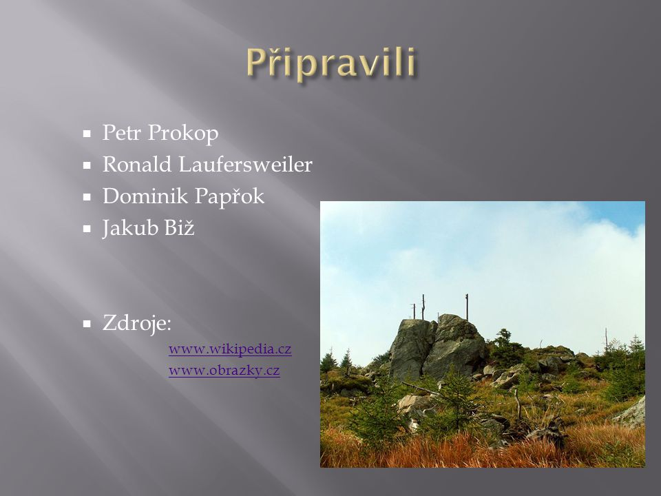 Připravili Petr Prokop Ronald Laufersweiler Dominik Papřok Jakub Biž