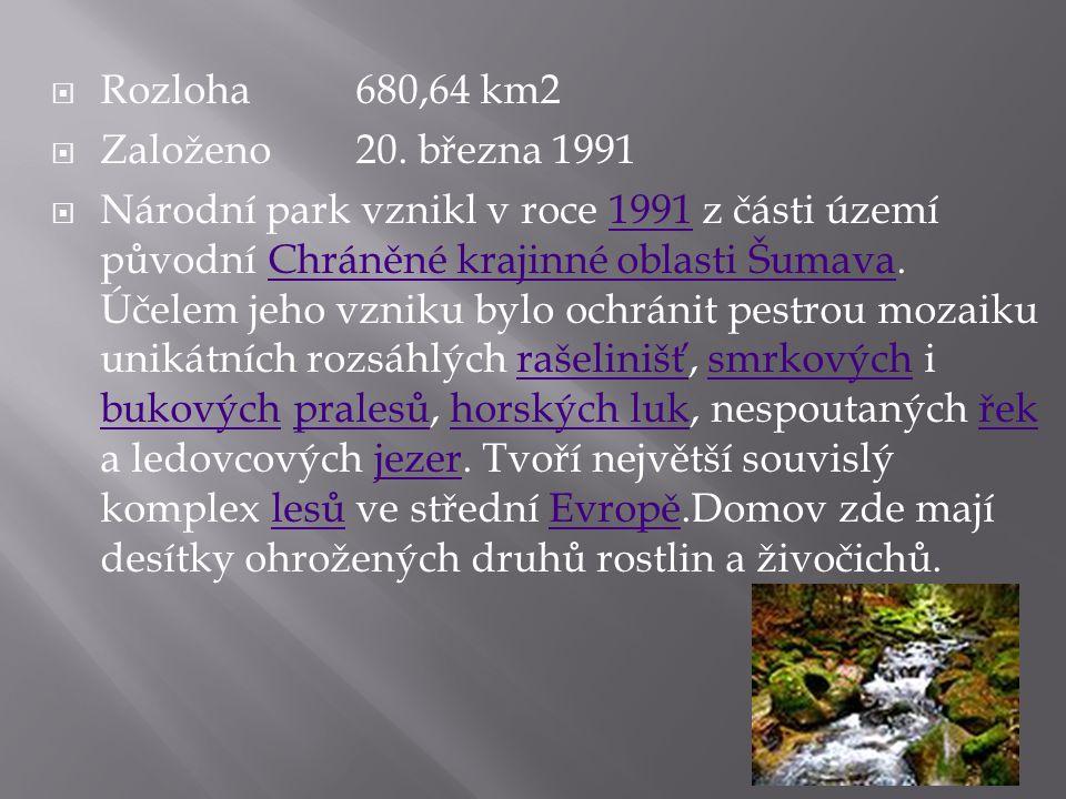 Rozloha 680,64 km2 Založeno 20. března 1991.