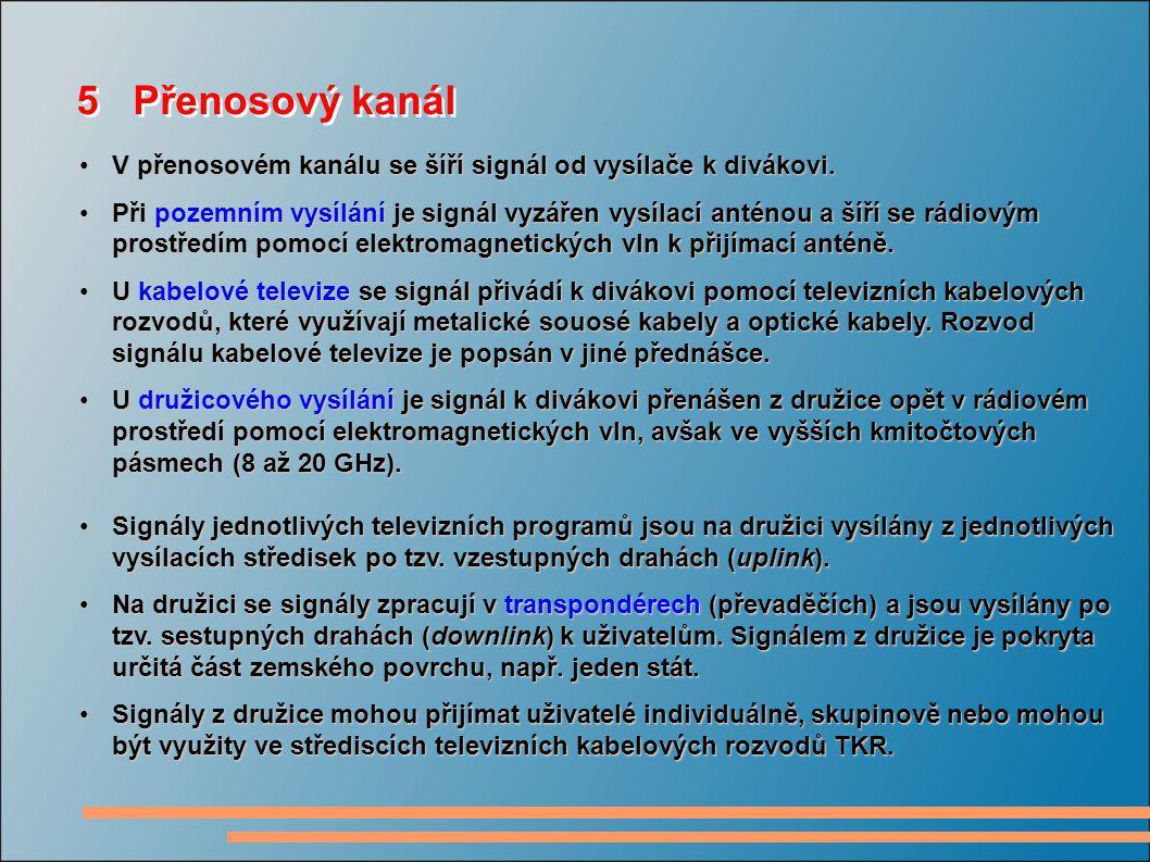 5 Přenosový kanál V přenosovém kanálu se šíří signál od vysílače k divákovi.