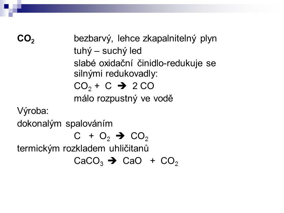 CO2 bezbarvý, lehce zkapalnitelný plyn
