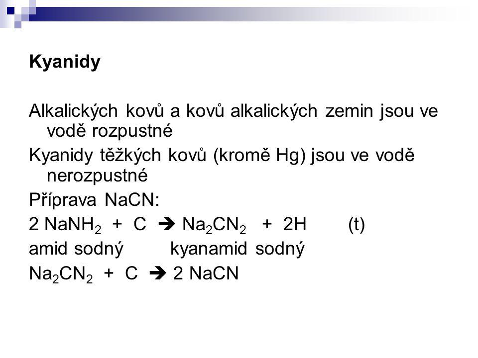 Kyanidy Alkalických kovů a kovů alkalických zemin jsou ve vodě rozpustné. Kyanidy těžkých kovů (kromě Hg) jsou ve vodě nerozpustné.