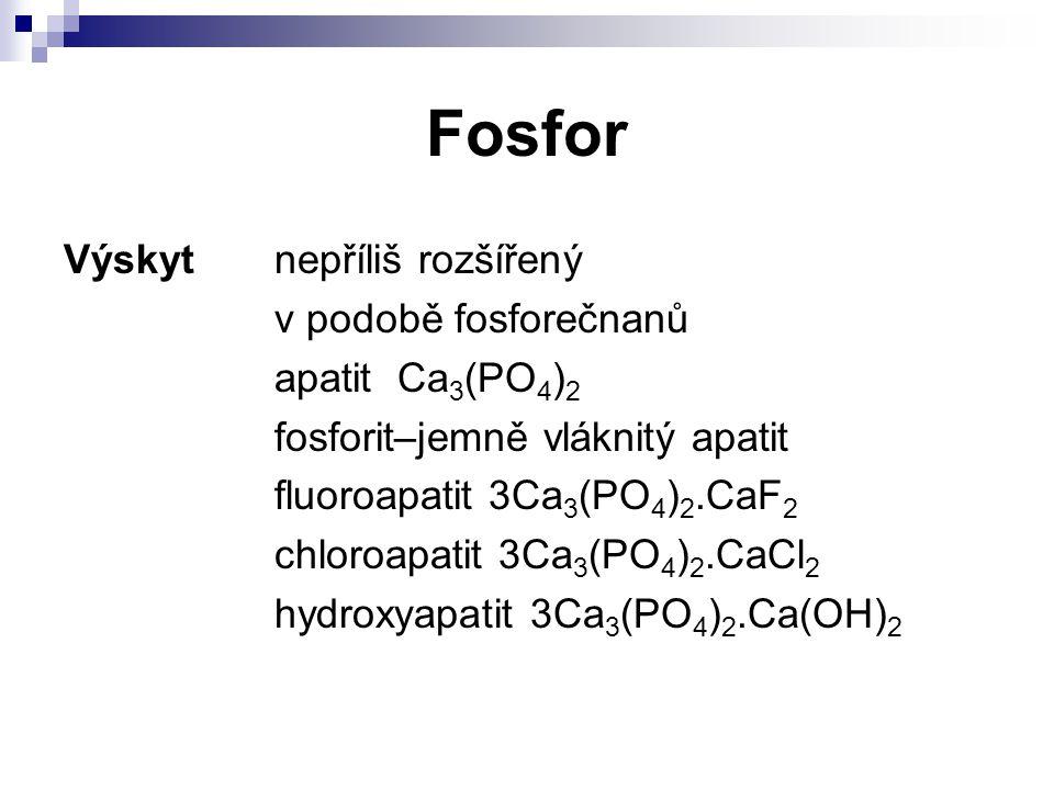 Fosfor Výskyt nepříliš rozšířený v podobě fosforečnanů