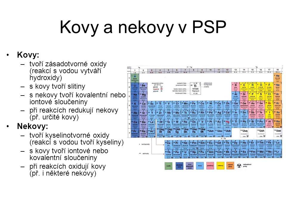 Kovy a nekovy v PSP Kovy: Nekovy: