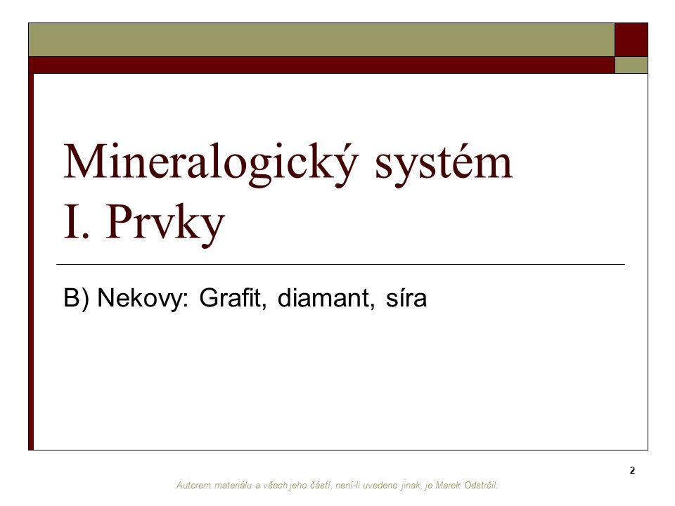 Mineralogický systém I. Prvky