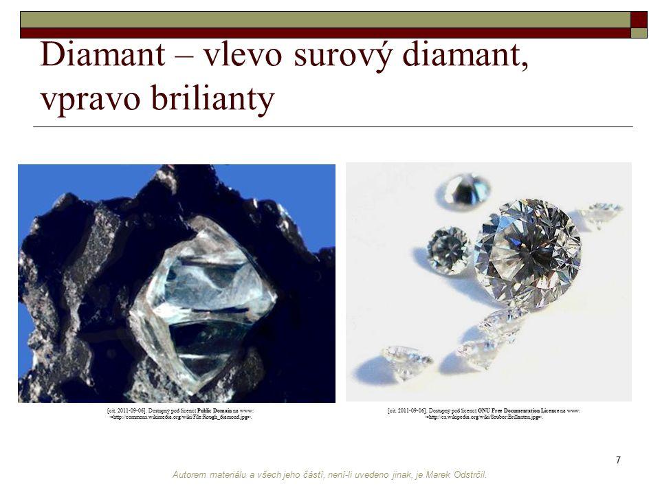 Diamant – vlevo surový diamant, vpravo brilianty