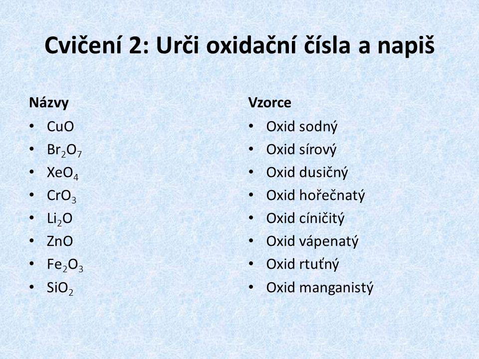 Cvičení 2: Urči oxidační čísla a napiš