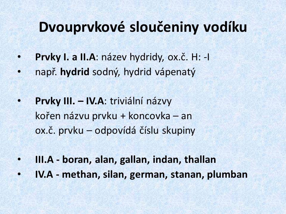 Dvouprvkové sloučeniny vodíku