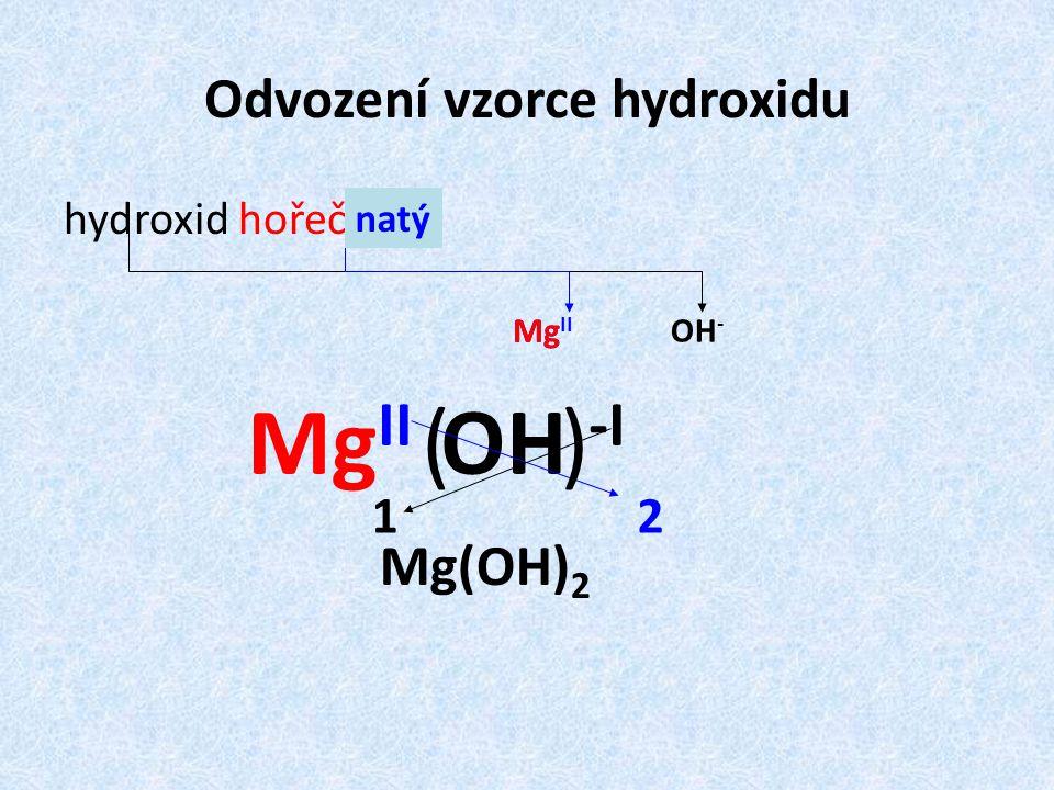 Odvození vzorce hydroxidu
