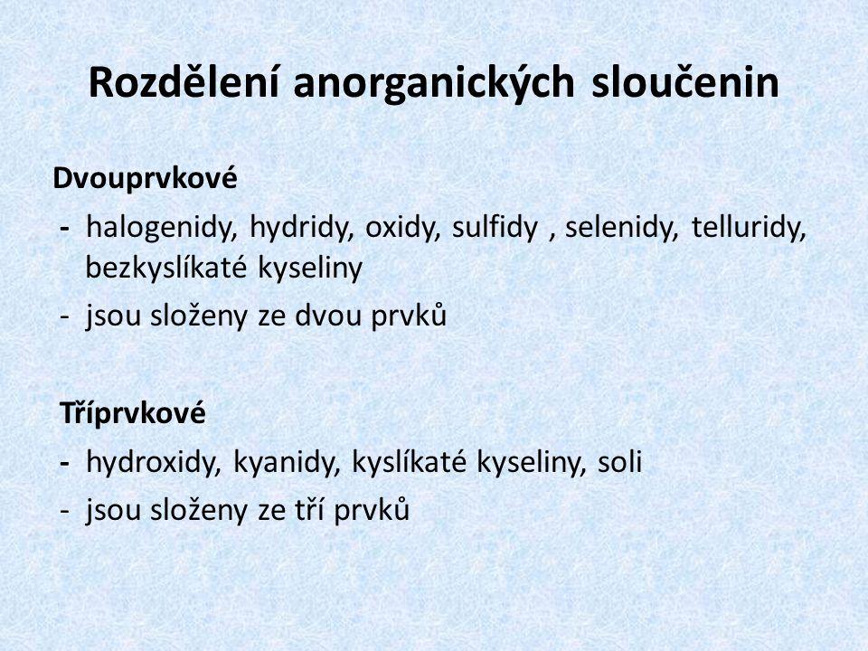 Rozdělení anorganických sloučenin