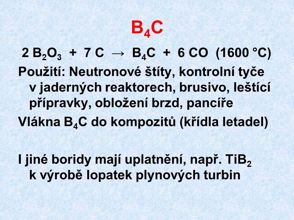 B4C 2 B2O3 + 7 C → B4C + 6 CO (1600 °C)