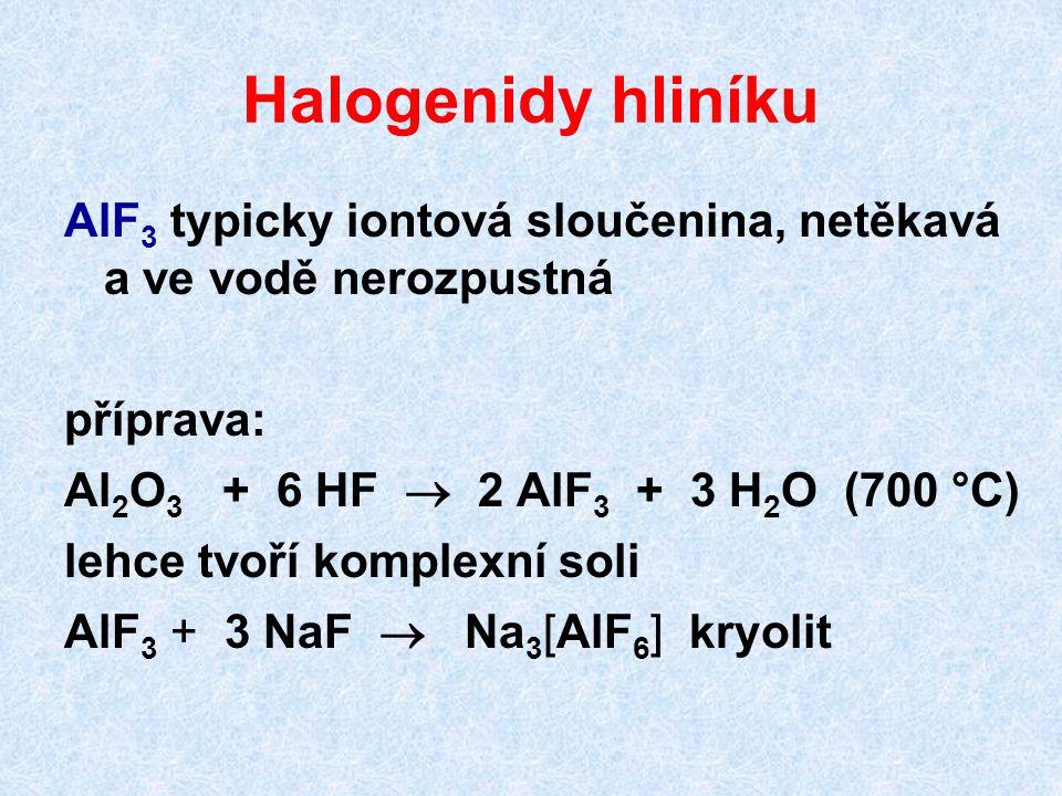 Halogenidy hliníku AlF3 typicky iontová sloučenina, netěkavá a ve vodě nerozpustná. příprava: Al2O3 + 6 HF  2 AlF3 + 3 H2O (700 °C)