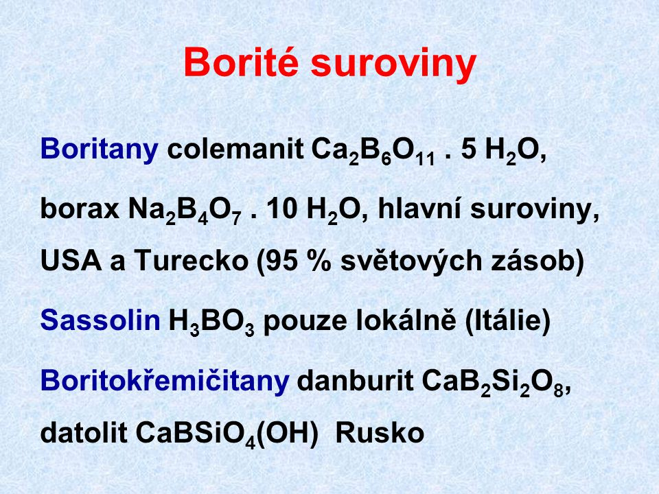 Borité suroviny Boritany colemanit Ca2B6O11 . 5 H2O,