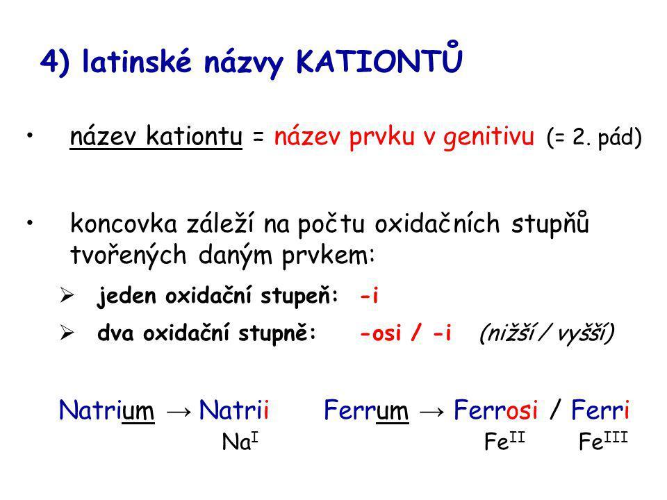 4) latinské názvy KATIONTŮ