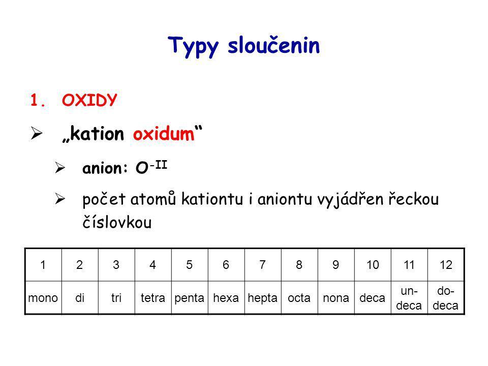 "Typy sloučenin ""kation oxidum OXIDY anion: O-II"