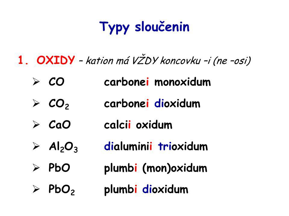 Typy sloučenin OXIDY – kation má VŽDY koncovku –i (ne –osi)