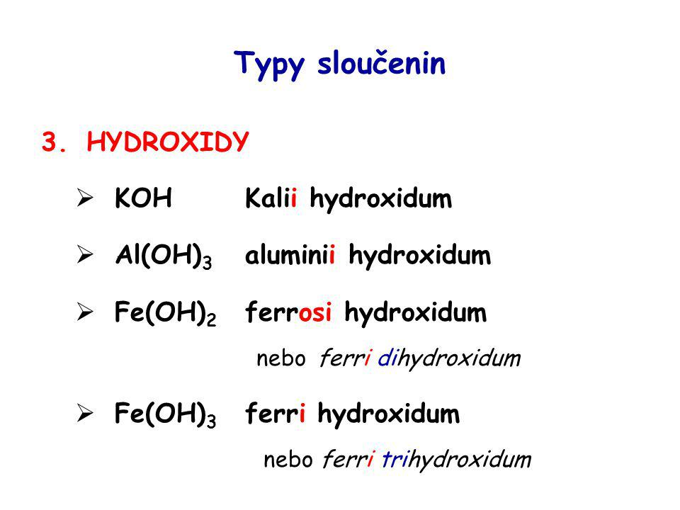 Typy sloučenin HYDROXIDY KOH Kalii hydroxidum