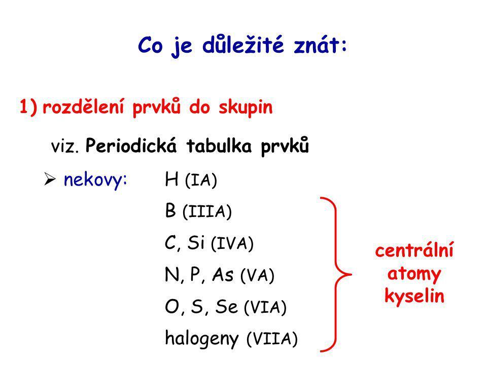 centrální atomy kyselin