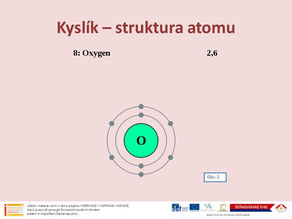 Kyslík – struktura atomu