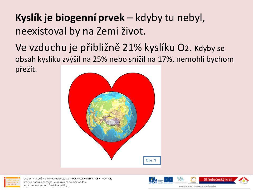 Kyslík je biogenní prvek – kdyby tu nebyl, neexistoval by na Zemi život. Ve vzduchu je přibližně 21% kyslíku O2. Kdyby se obsah kyslíku zvýšil na 25% nebo snížil na 17%, nemohli bychom přežít.