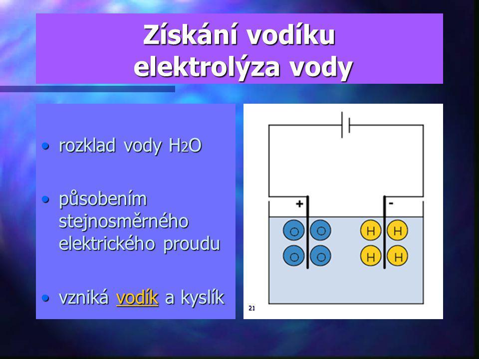 Získání vodíku elektrolýza vody